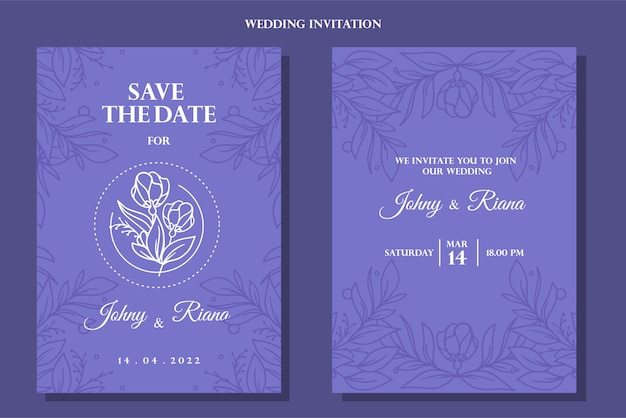 Vintage blue hand drawn floral wedding invitation background