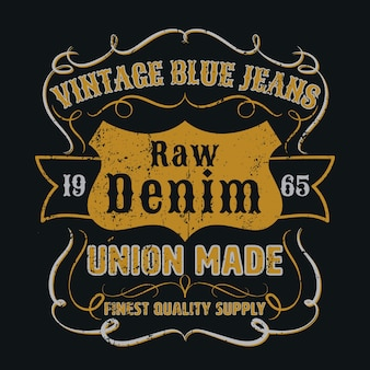 Vintage blue jeans graphic for apparel