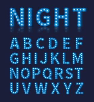 ヴィンテージブルー電球ランプフォントまたはアルファベット。タイポグラフィデザイン、フォントの明るく輝く装飾、