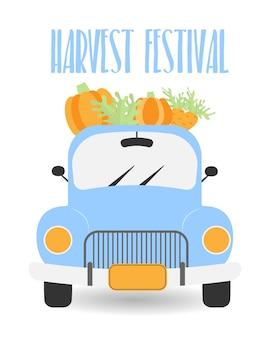 Vintage blue pickup truck with vegetables vector illustration pickup truck with harvest