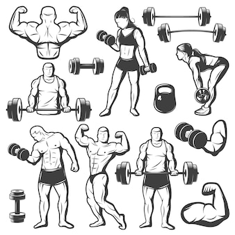 Vintage body building character isolated set