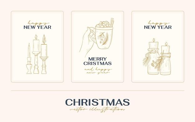 ヴィンテージ自由奔放に生きるクリスマス手描きカードまたはポスターベクトルイラスト