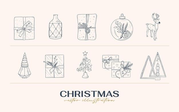 ヴィンテージ自由奔放に生きるクリスマス手描きイラスト