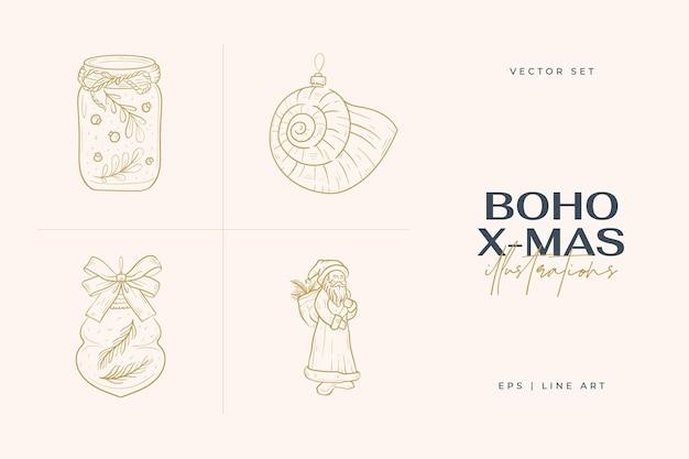 Vintage boho christmas hand drawn illustration