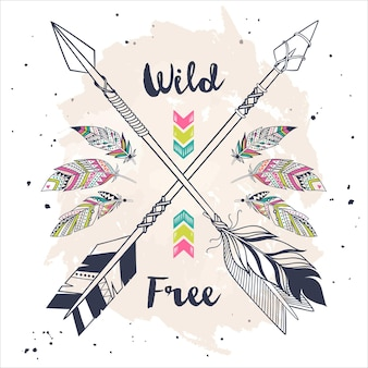 Vintage boho style with tribal ethnic crossed arrows and feathers