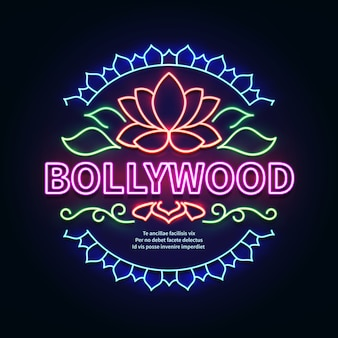 Vintage bollywood movie signboard. glowing retro indian cinema neon vector sign. illustration of bollywood cinema signboard