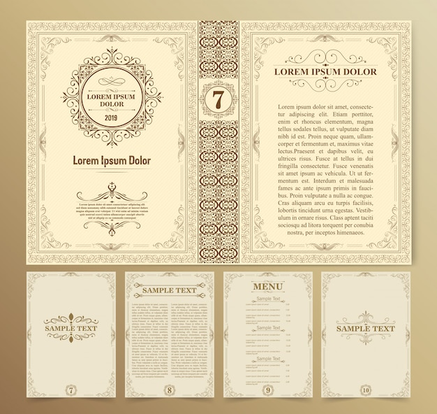 Vintage book layouts and design