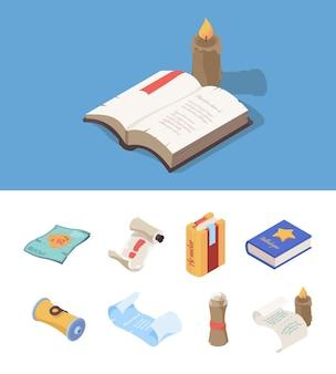 빈티지 책 아이소메트릭. 컴퓨터 게임 중세 지도 벡터 세트에 대한 판타지 마법의 종이 동화 책. 그림 양피지 또는 파피루스, 책 및 문서