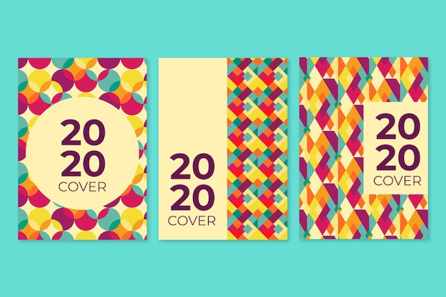 Vintage books and notepads geometric cover collection