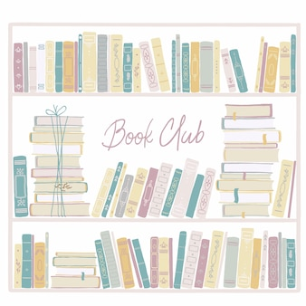 Vintage bookshelf. childish hand-drawn illustration in simple cartoon style in pastel colors.