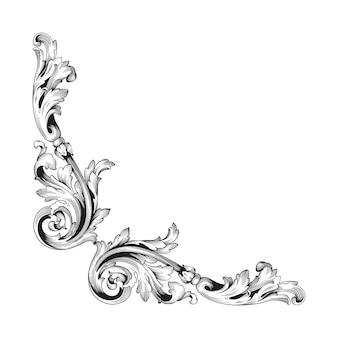 Винтажные границы и рамка в стиле барокко. черно-белый цвет. цветочная гравировка.