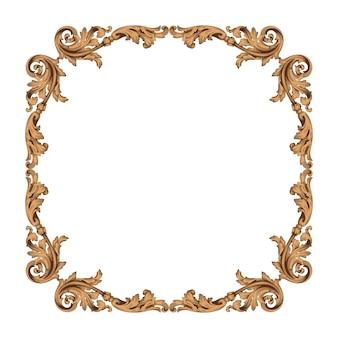 Винтажные границы и рамка в стиле барокко. золотистый цвет. цветочная гравировка.