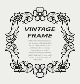 Vintage border frame engraving ornament monochrome style