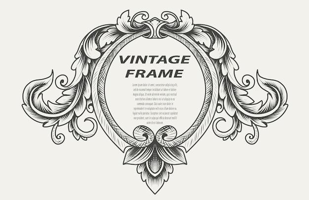 Винтаж границы рамки гравировка орнамент монохромный стиль