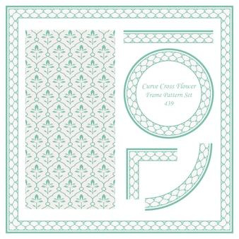 곡선 라운드 크로스 꽃의 빈티지 테두리 패턴