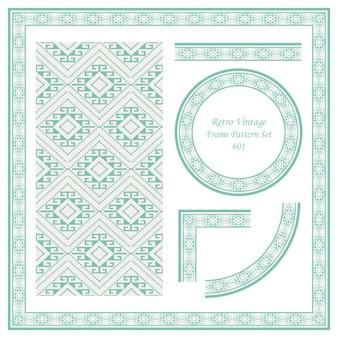 Vintage border seamless pattern background set check diamond spiral cross dot line frame.