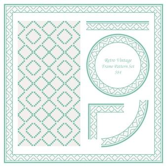 빈티지 테두리 원활한 패턴 배경 설정 모자이크 픽셀 삼각형 체크 기하학 크로스 프레임.