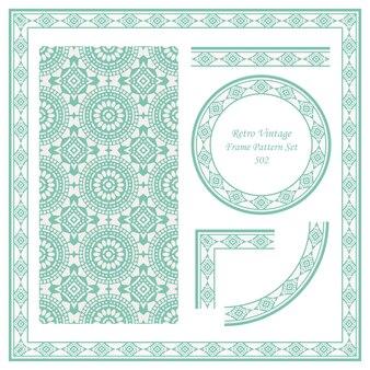 빈티지 테두리 원활한 패턴 배경 세트 라운드 크로스 도트 라인 프레임 꽃.