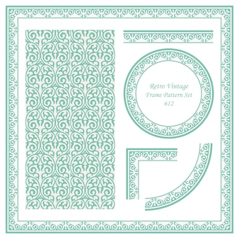 Vintage border seamless pattern background set round spiral curve cross frame vine crest.