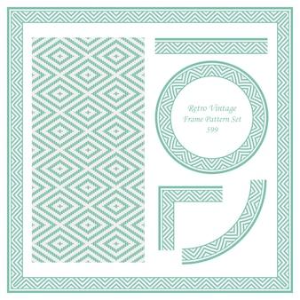 Vintage border seamless pattern background set stitch cross square check diamond frame line.