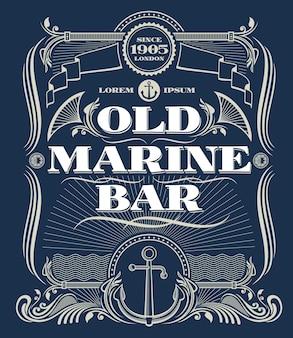 Vintage border western vector frame, old marine bar label. illustration frame with anchor for marine