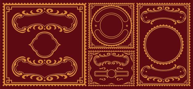 Набор винтажных бордюров, эти детали можно использовать для открыток