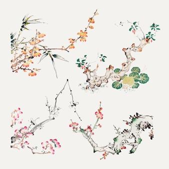 Vintage botanical element vector art print set, remixed from artworks by hu zhengyan