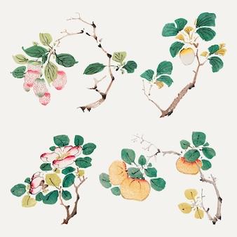 Set di stampe artistiche vettoriali con elementi botanici vintage, remixate da opere d'arte di hu zhengyan