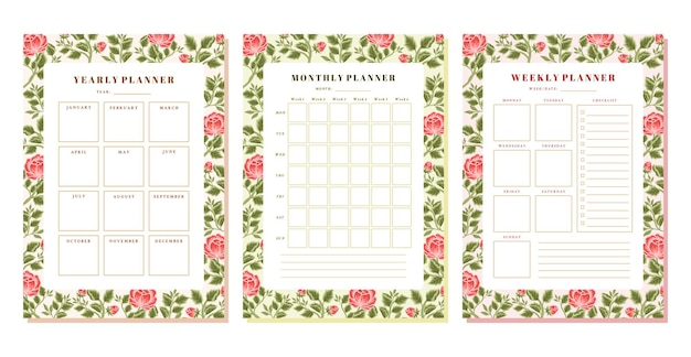 Vintage botanical floral weekly monthly yearly planner template set