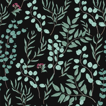 Vintage botanical seamless pattern with gorgeous eucalyptus branches, leaves and flowers on black