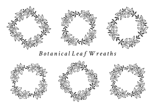 Vintage botanical wedding wreath with leaf and branch collection