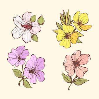 Vintage botany flower set