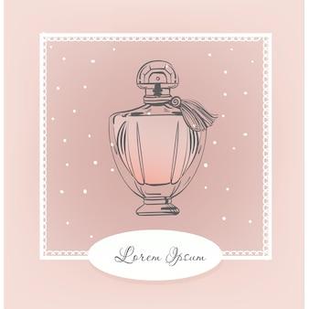 香水のヴィンテージボトル。ベクトルファッションイラスト。