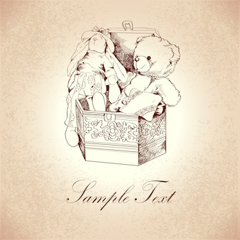 Vintage box with flower ornament and retro teddy bear and rabbit toys vector illustration