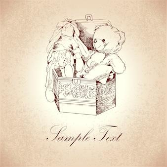 La scatola d'annata con l'ornamento del fiore ed i retro giocattoli dell'orsacchiotto e del coniglio vector l'illustrazione