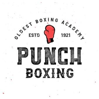 ビンテージボクシングバッジ-ボクシンググローブとロゴ。ヴィンテージのレトロなポスター