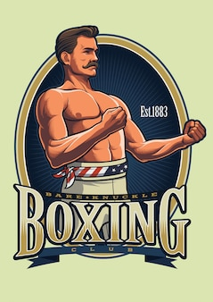 Vintage boxing logo template