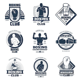 Vintage boxing sports club vector labels and badges