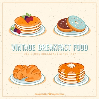 Vintage breakfast food with pancakes