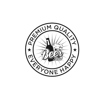 Vintage brewery badge logo premium vector