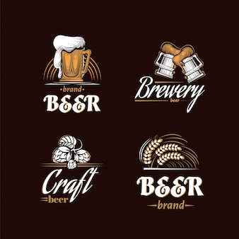 Vintage brewery logo set. beer retro badge. beer house design template. icon brewing company. vector illustration