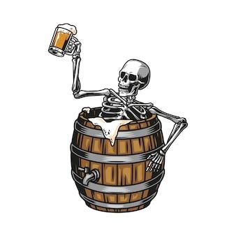ビールの木製の樽に座って、泡立った飲み物の孤立したイラストでいっぱいのマグカップを保持している酔ったスケルトンとヴィンテージ醸造カラフルなコンセプト
