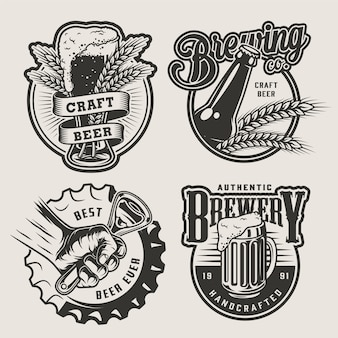 Vintage brewing emblems set