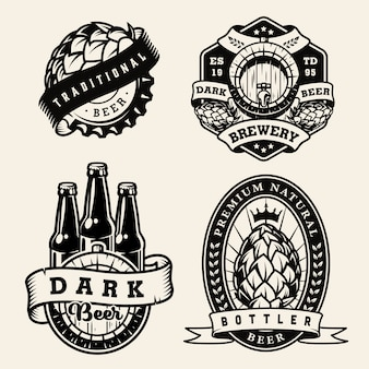 Vintage brewing monochrome badges set