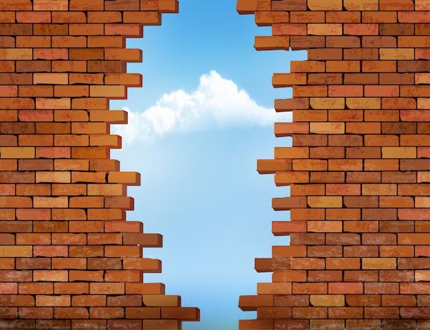 구멍이있는 빈티지 벽돌 벽 배경입니다.