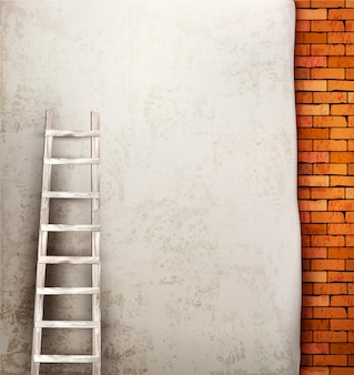 Vintage brick wall background with wooden ladder.
