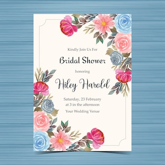 Vintage bridal shower invitation card with roses