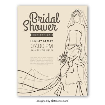 Vintage bridal shower invitation with bride