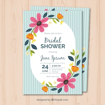 Vintage bridal shower party invitation with flowers