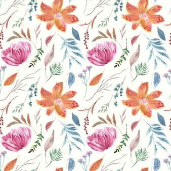 ヴィンテージ明るい花の水彩画のサンプルパターン